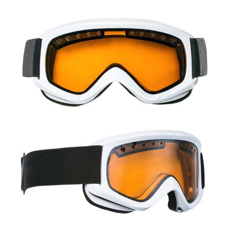 スキー用ゴーグルの白い背景で隔離の設定