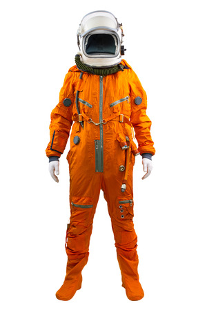 Astronaut isolated on a white background. Cosmonaut wearing space suit standing against white background. photo