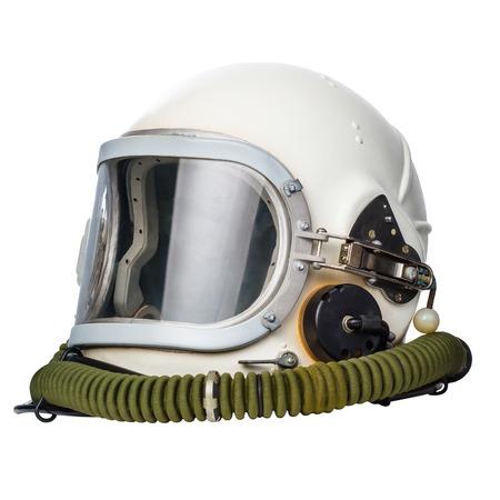 宇宙飛行士パイロット ヘルメット、白い背景で隔離されました。 写真素材