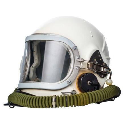 Astronaut/pilot helmet isolated on a white background.