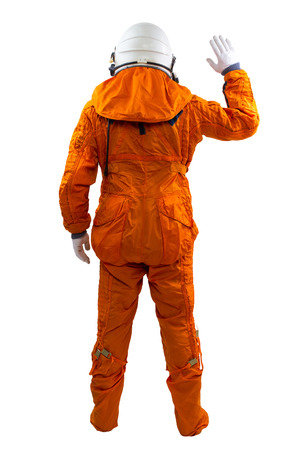 space suit: Astronaut isolated on a white background. Cosmonaut wearing space suit standing against white background.