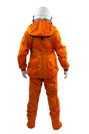 白い背景で隔離の宇宙飛行士。宇宙飛行士は宇宙服立っている白い背景に、身に着けています。