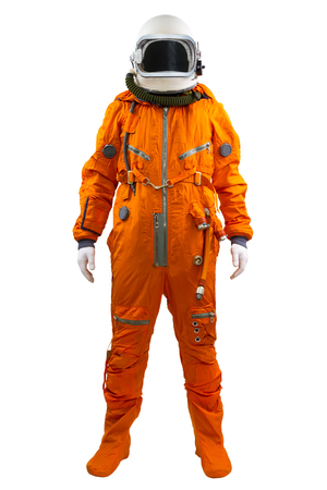 Astronaut isolated on a white background. Cosmonaut wearing space suit standing against white background.
