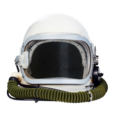 helmet: Space helmet isolated on a white background. Stock Photo