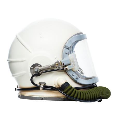 ビンテージ宇宙飛行士ヘルメットは、白い背景で隔離。 写真素材