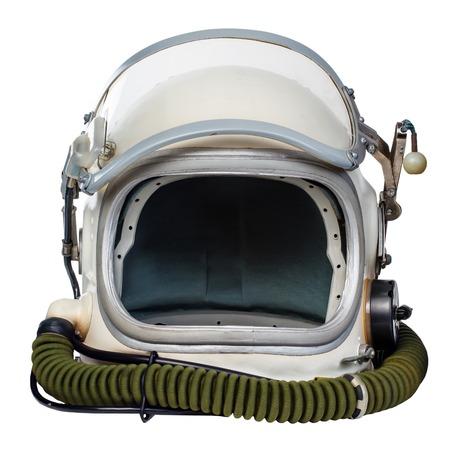 ヴィンテージの宇宙飛行士のヘルメットは白い背景に対して隔離されます。