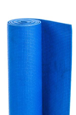 yoga mat: Yoga mat isolated on a white background. Blue gymnastic mat. Stock Photo