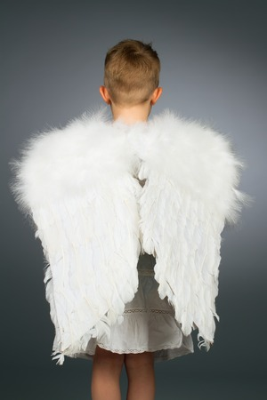 Angel kid with white wings photo