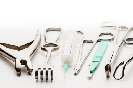 Surgical instruments set closeup photo