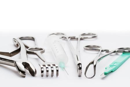手術器具セット マクロ 写真素材