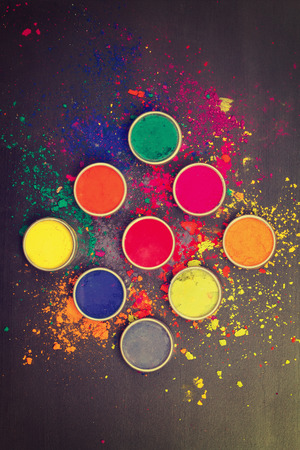 Indian Holi festival colours. Instagram-like filtered Stok Fotoğraf