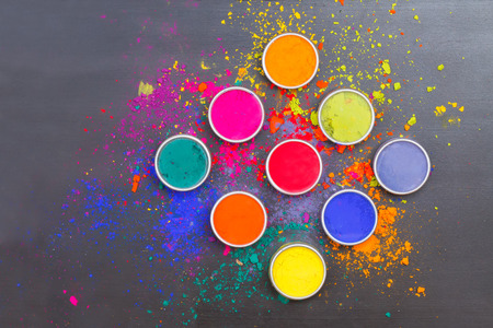 holi: Indian Holi festival colours with text space