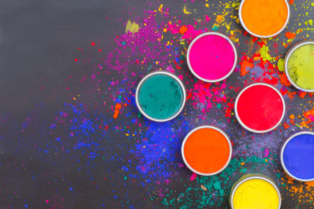 dry powder: Indian Holi festival colours with text space