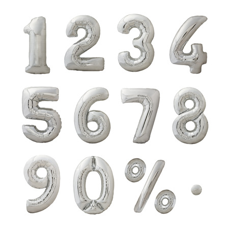 silver ribbon: Numbers set made of inflatable balloons