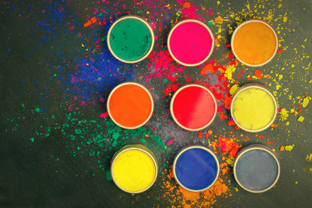 Indian Holi festival colours with copy space photo