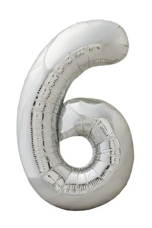 air baloon: Number six silver balloon photo