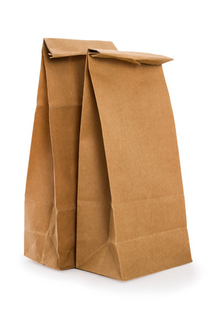 Paper bags isolated on white background 版權商用圖片