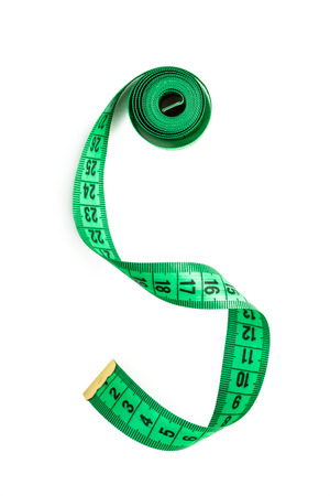 tailor measuring tape: Green tailor measuring tape isolated on a white background