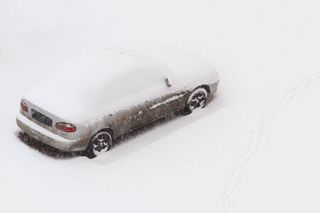 oudoors: Car under the snow. Copy space included Stock Photo