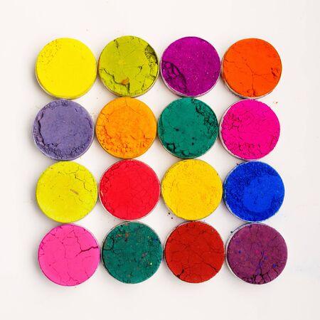 holi: Colorful Indian Holi festival dyes Stock Photo