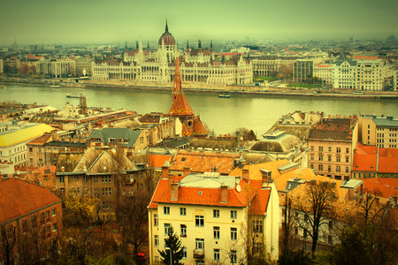 horison: Panoramic view of Budapest and Danube river from Buda. Vintage effect Stock Photo