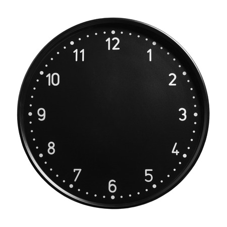 Black office clock face with no hands isolated on white background