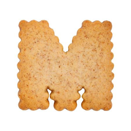 Cookie alphabet symbol - M isolated on white background. One of full alphabet set