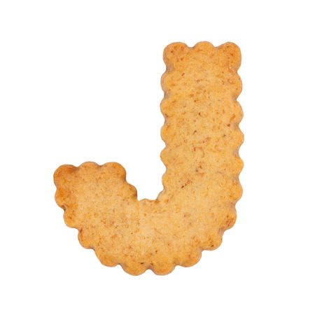 Cookie alphabet symbol - J isolated on white background. One of full alphabet set