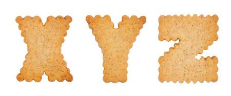 xyz: Cookie alphabet symbols XYZ isolated on white background. XYZ from full alphabet set Stock Photo