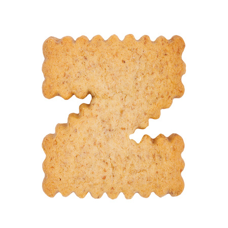 Cookie alphabet symbol - Z isolated on white background. One of full alphabet set Stock Photo