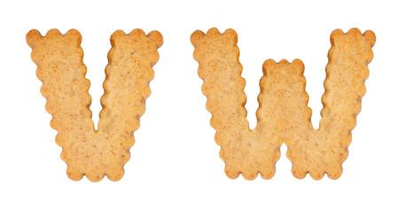 Cookie alphabet symbols VW isolated on white background. VW from full alphabet set Stock Photo