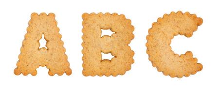 Cookie alphabet symbols ABC isolated on white background. ABC from full alphabet set