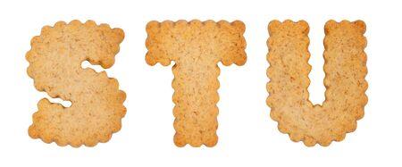 Cookie alphabet symbols STU isolated on white background. STU from full alphabet set