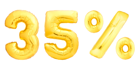 Golden thirty five 35 percent made of inflatable balloons isolated on white background. One of full percentage set Stock Photo