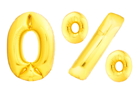 Golden number 0 made of inflatable balloon isolated on white background. One of full number set