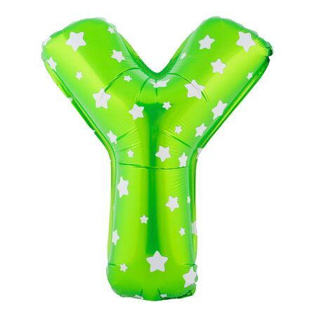 Green color letter Y made of inflatable balloon isolated on white background