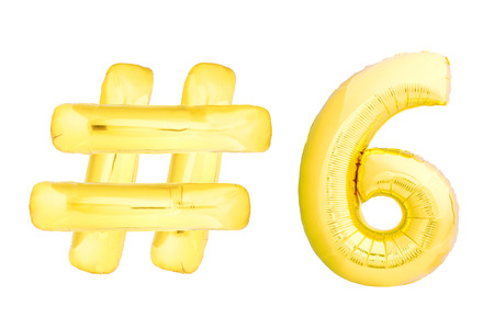 Golden number six with hashtag symbol helium air balloon isolated on white background