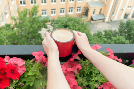 Above view on young woman drinking coffee on balcony decorated with flowers. Woman hands holding coffee mug