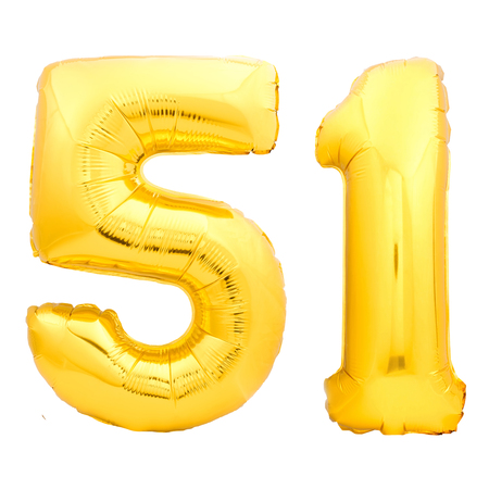 Golden number 51 fifty one made of inflatable balloon isolated on white background