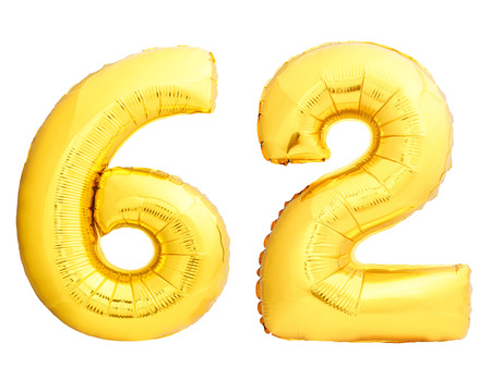 Golden number 62 sixty two made of inflatable balloon isolated on white background Stock Photo