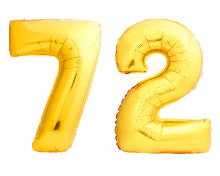 Golden number 72 seventy two made of inflatable balloon isolated on white background Stock Photo