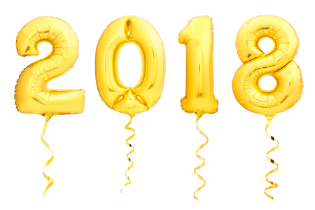 Golden Christmas balloons 2018 made of inflatable balloon with golden ribbon isolated on white background Foto de archivo