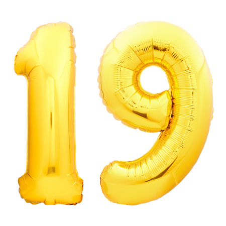 Golden number 19 nineteen made of inflatable balloon isolated on white background