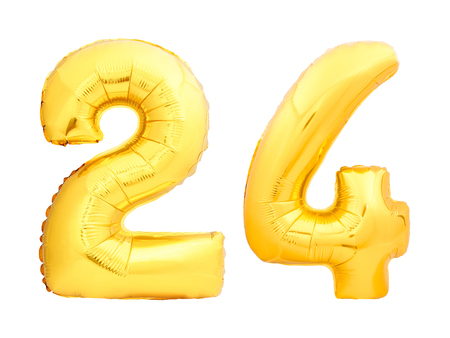 Golden number 24 twenty four made of inflatable balloon isolated on white background