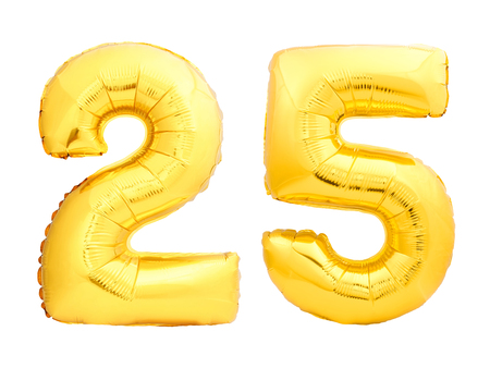 Golden number 25 twenty five made of inflatable balloon isolated on white background Stock Photo