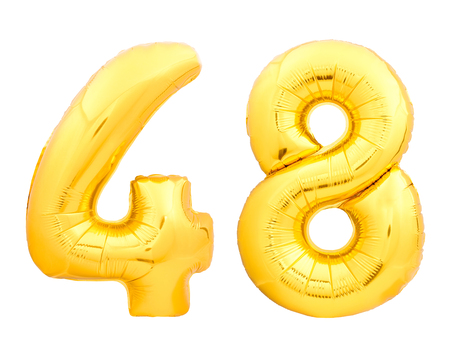 Golden number 48 fourty eight made of inflatable balloon isolated on white background Stok Fotoğraf