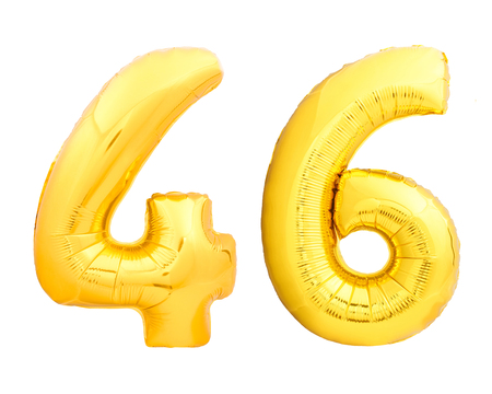 Golden number 46 fourty six made of inflatable balloon isolated on white background
