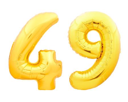 황금 번호 49 49 흰 배경에 고립 된 풍선 풍선으로 만들어진
