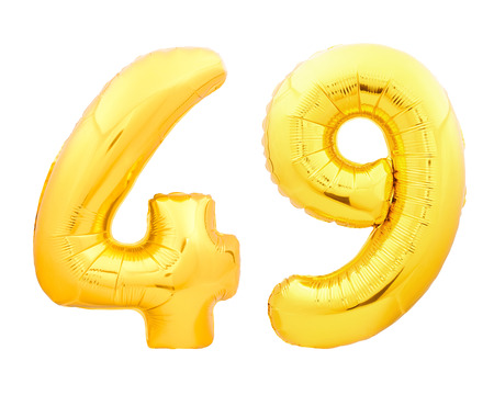 Golden number 49 fourty nine made of inflatable balloon isolated on white background