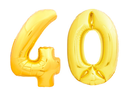 Golden number 40 forty made of inflatable balloon isolated on white background